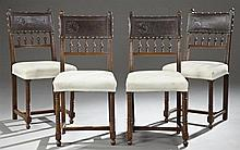 Set of Four Carved Mahogany Henri II Style Dining Chairs, 19th c., with original embossed leather backs over spindles, to muslin cov...