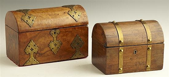 Two English Boxes, 19th c., consisting of an arched walnut stationery box with engraved strap mounts and a divided interior, togethe...