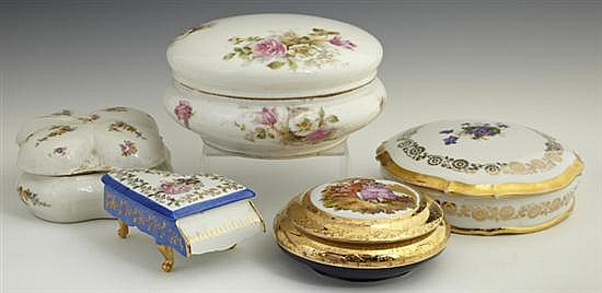 Group of Five Porcelain Covered Dresser Boxes, 20th c., four Limoges including one by Tressemane and Vogt. (5 Pcs.)