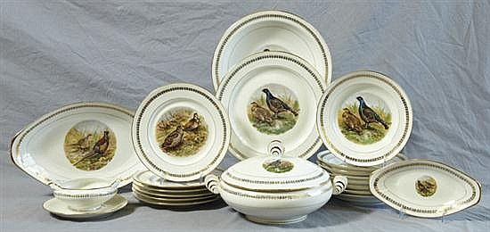 Fifty-Two Piece Partial Porcelain Dinner Service, 20th c., by