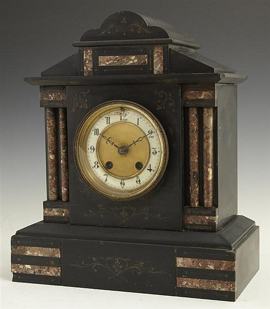 German Black Granite and Rouge Marble Temple Form Mantel Clock, late 19th c
