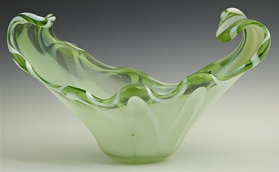 Murano Glass Green Center Bowl, mid 20th c., with upward curved sides, H.- 8 in., W.- 13 1/2 in., D.- 8 in.