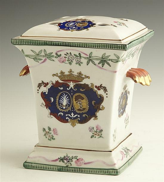 Continental Painted Porcelain Bough Pot, 19th c., of tapered form, the top and sides with armorial decoration, the sides with floral...