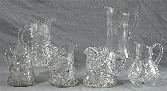 Group of Six Cut Crystal Pitchers, 20th c., Tallest- H-10 3/8 in., W.- 7 in., D.- 5 3/4 in.