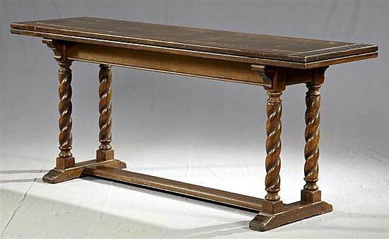 Unusual English Carved Oak Dining or Console Table, early 20th c., the wide top