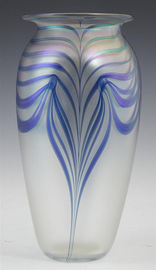 Iridescent Pulled Feather Baluster Art Glass Vase, 2001, dated on the base, signed indistinctly, H.- 9 1/8 in., W.- 4 in.