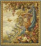 French Style Needlepoint Tapestry, 20th c., depicting birds and flowers in a garden, H.- 53 in., W.- 48 in.