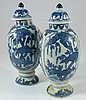 Pair of Chinese blue and white porcelain covered vases