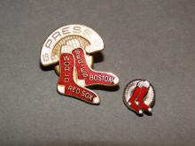 Two Boston Red Sox Pin Backs 1946 World Series Press Pin, 1946 All Star Game Tie Tack