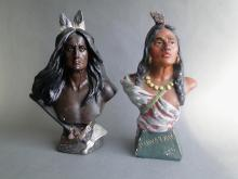 Pair Country Store Chalkware Indian Bust