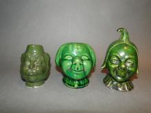 Lot of 3 Pottery Banks Heads