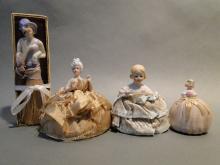 Lot 3 Pin Cushion Dolls, Doll Brush