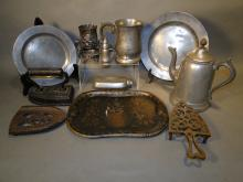 Lot of Mixed Pewter, Tin, Iron, Silverplate