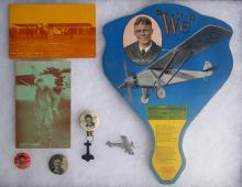 Lot of Charles Lindbergh Souvenir items, Postcards, Pins