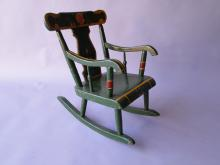 Green Paint Decorated  Childs Chair