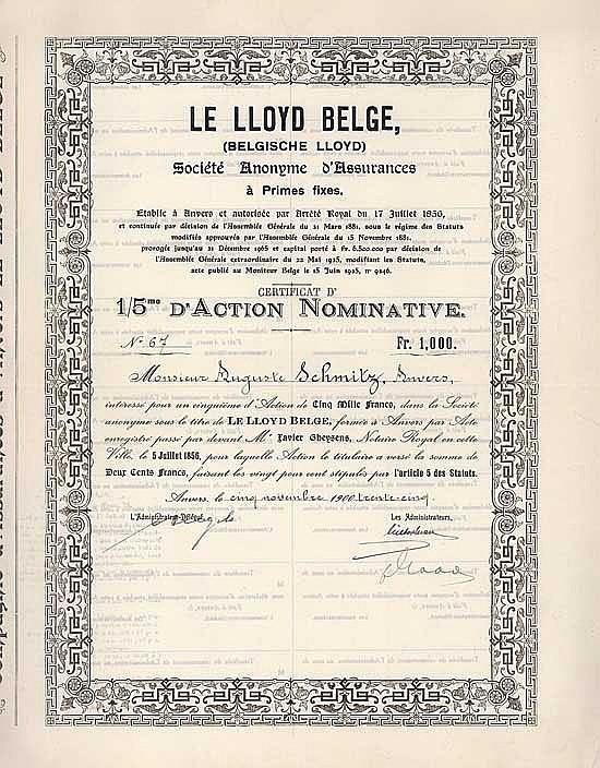 Lloyd Belge S.A. Cie. d'Assurances à Primes fixes