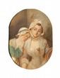 Ecole française de la fin du XVIIIème siècle Les deux soeurs. Huile sur toile. 35 x 25 cm.