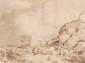 Ecole française du XVIIIème siècle Couple de bergers se reposant près d'une vieille grange. Plume et encre brune, lavis brun. 44,5 x 55,5 cm.