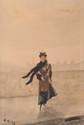 Giuseppe de NITTIS (1846-1884) Elégante à Paris. Aquarelle. Signée en bas à gauche. 34 x 23 cm.