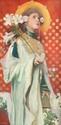 Gottlieb Theodor KEMPF-HARTENKAMPF (1871-1964) Portrait de femme aux lys. Huile sur toile. Signée en bas à gauche. 114 x 59 cm. Restaurations.