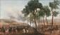 Prosper BACCUET (1798-1854) Camp de Compiègne lors de la présentation d'Hélène de Mecklembourg - Schewerin à l'armée à l'occasion du mariage du Duc d'Orléans. Huile sur toile signée en bas à droite et datée 1837. (Réentoilage et repeints). Sur le