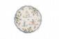 Alcora. Drageoir à « bourrelet » en faïence. Décor en trichromie de grand-feu de personnages et animaux grotesques. Encadrement de larges buissons de fleurs avec filet bleu. Vers 1730 (restauration). D. : 24,5 cm.