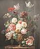 J. E. GRAND-PIÉGAY   Vase de fleurs, 1858.   Huile sur panneau.   Signée en bas à gauche, datée et située Lyon.   73 x 58 cm.   Exposition :   - Fleurs de Lyon 1807-1917, Musée des Beaux-Arts de Lyon 1982, n°88.