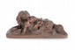 Christophe FRATIN (1801-1864)  Enfant au cerceau jouant avec un chien.  Groupe en bronze à patine marron.  Estampillé.  H. : 9 cm. L. : 21 cm.    Child Playing with a Dog. Bronze with chestnut  brown patina. (Stamped). 3,5 in. High, 8,3 in.  Wide.