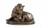 Paul GAYRARD (1807-1855)  Chien ratier au repos.  Sujet en bronze à patine brune nuancée.  Signé.  H. : 11 cm. L. : 15 cm. P. : 11 cm.    Dog. Bronze with brown nuanced patina. (Signed).  4,3 in. High, 5,9 in. Wide, 4,3 in. Depth.