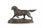 Edouard Paul DELABRIERRE  (1829-1912)  Chien d'arrêt.  Sujet en bronze à patine médaille nuancée.  Signé.  H. : 16 cm. L. : 24 cm. P. : 11,5 cm.    Dog. Bronze with nuanced medallion. (Signed). 6,3  in. High, 9,5 in. Wide, 4,5 in. Depth.