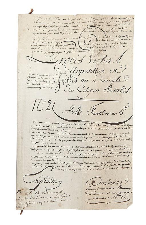 PORTALIS Déportation et mise sous séquestre de ses biens, 1797-1799 Réunion de 11 documents :