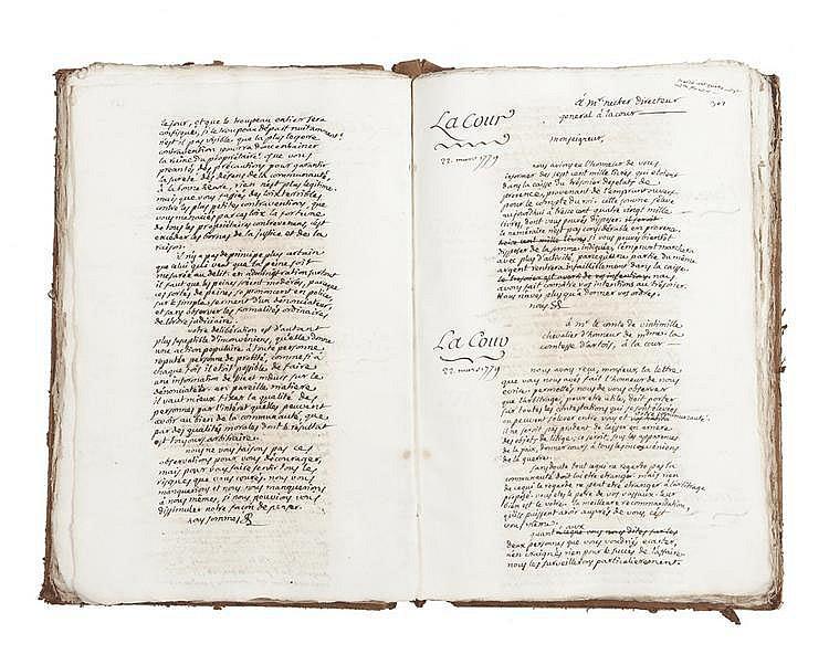 PORTALIS Jean-Etienne-Marie (1746-1807) Administration, tome II. 1779-1780 MANUSCRIT : un volume in-folio, environ 953 pages écrites pour la plupart par J.-E.-M. Portalis.