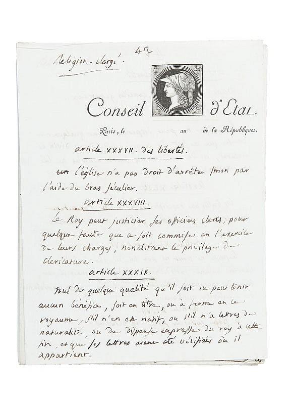 PORTALIS Jean-Etienne-Marie (1746-1807) Religion-Clergé. Vers 1802. MANUSCRIT en partie autographe, 44 pages et demi in-quarto écrites à l'encre noire sur papier vergé, 30 pages et demie sont de la main de Jean-Etienne-Marie Portalis. Quelques pages