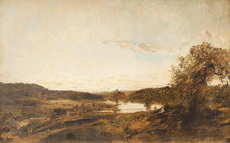 Raphaël Luc PONSON (1835-1904)Cernay.Huile sur toile marouflée sur carton.Signée en bas à gauche.24 x 35 cm.