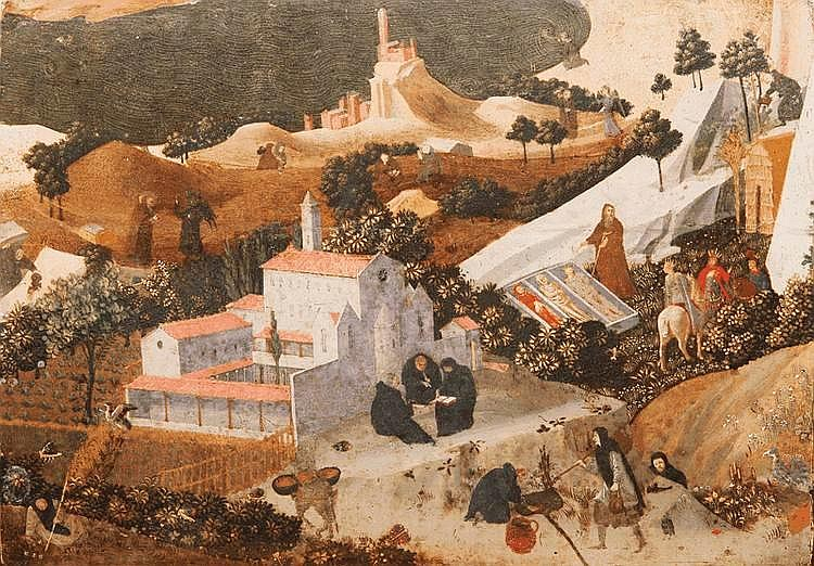 FRA ANGELICO et son atelierFra Angelico dit Guido di Pietro (Vicchio di Mugello vers 1395-1400 - Rome 1455)Scènes de la Thébaïde.Vers 1430/1435.Tempera sur panneau.27,5 x 38,5 cm.Restaurations.Bibliographie :- C. Brandon Strehlke,