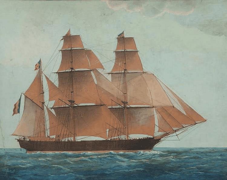 Frédéric ROUX (1805-1874) Attribué à Trois mâts. Aquarelle. Trace de signature en bas à droite. 38 x 50 cm.