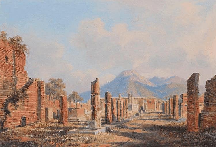 Ecole italienne du XIXe siècle Vue du forum de Pompei. Aquarelle. Signée en bas à droite. 14 x 20,5 cm.
