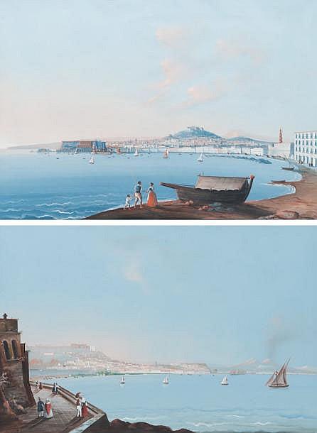Ecole napolitaine du XIXe siècle Baie de Naples veduta da Posillipo / Baie de Naples veduta da Carmine. Paire de gouaches. 45 x 64 cm.