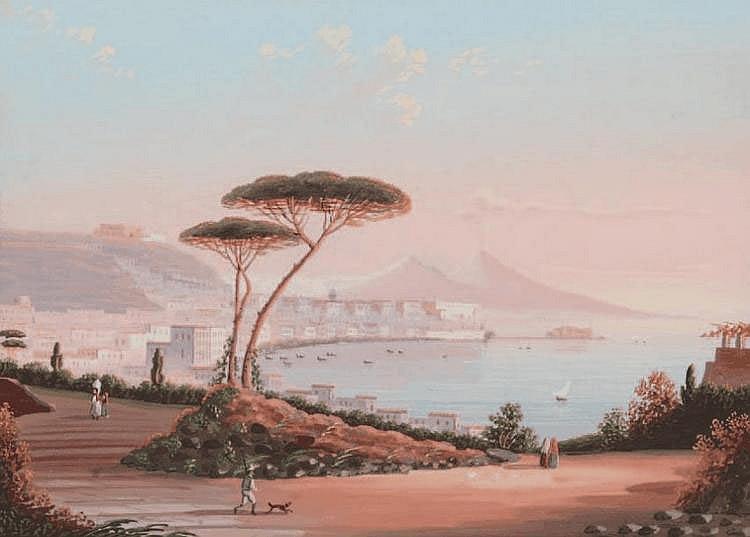 Ecole napolitaine du XIXe siècle Napoli da posillipo. Gouache. 17 x 23 cm.