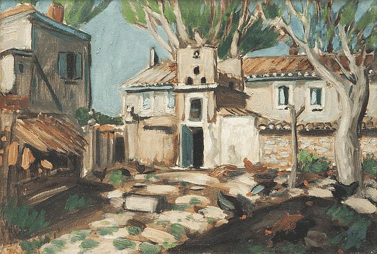Auguste CHABAUD (1882-1955) La basse cour. Circa 1920. Huile sur toile. Etiquette de l'atelier portant le numéro 2043 au dos. 38 x 55 cm.