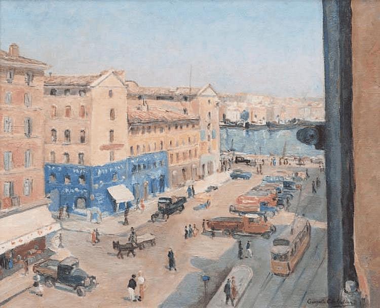 Ecole provençale du XXe siècle Le cours Jean Ballard. Huile sur toile. Signée en bas à droite. 51 x 61 cm.