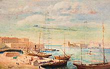 H. KOLASINSKI, actif à Marseille vers 1930 Le port de Marseille avec le pont Transbordeur.
