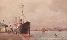 Alfred GODCHAUX (1835-1895) Bateau à quai.