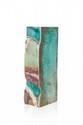 Emile MULLER (1823-1889) Vase de forme rectangulaire en grès polychrome à décor abstrait. Signé. H. : 32 cm.