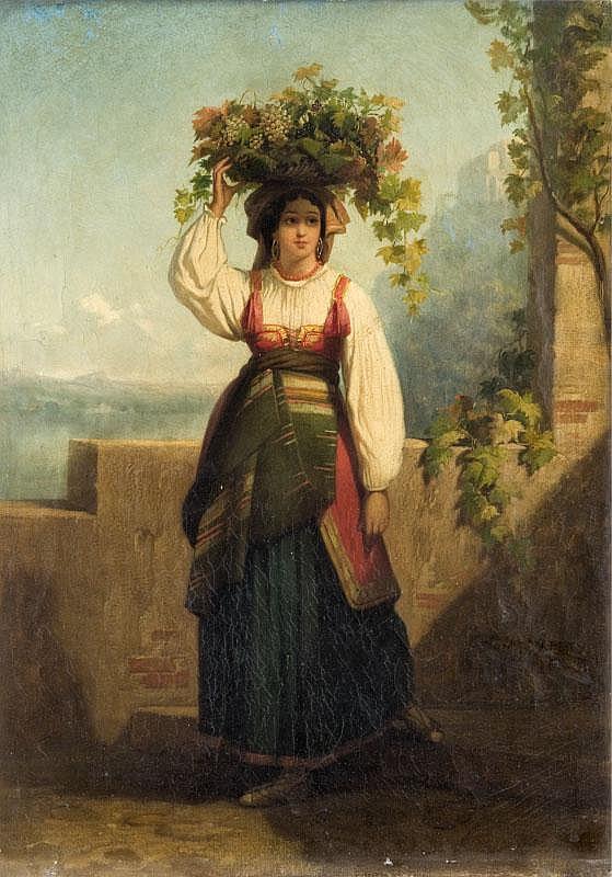 Dominique Louis PAPETY (1815-1849)Jeune italienne.Huile sur toile.Signée en bas à droite.60 x 43 cm.