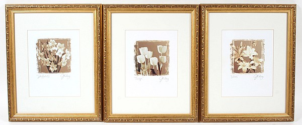 3 FRAMED FLORAL PRINTS. 3 contemporary decorative floral prints by J. Kiley. Includes: Tulips, Daffodils, Lilies. All matted under glass in giltwood frames. Each artist signed in pencil ''J. Kiley.'' Size: frames: 16''H, 13''W. Condition: minor wear.