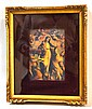 FRAMED MADONNA AND CHILD. Framed printed Madonna and child on tin, red velvet matting in gilt shadowbox frame. Size; frame: 12''H, 9 3/4''W. Provenance: Collection Richard Miller, antiques dealer.