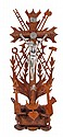TRAMP ART CRUCIFIX. Tramp art carved wood crucifixion scene with the instruments of the Passion, carved wood base and cross with lattice-like cut outs of instruments of the Passion; nails, rooster, 30 pieces of silver, ladder, sponge, spear, dice.