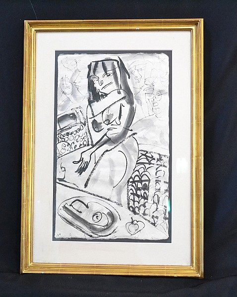 KIRK MANGUS (Ohio 1955- ) Woman, watercolor on paper, signed bottom Mangus. Contained in matted gilt frame under glass. Condition: some handling wear at lower right. Dimensions: 17'' X 10 1/4''. Provenance: Collection of Graham Shearing.