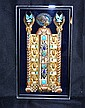 LEE YOHO JEWELED NEFERTITTI ARTWORK. Original hand crafted artwork by Lee Yoho, Egyptian entrance gate topped by Profile bust of Nefertitti on dark blue velvet ground in lucite shadow box frame. Marked: artist signed on back: Lee Yoho. label on back:
